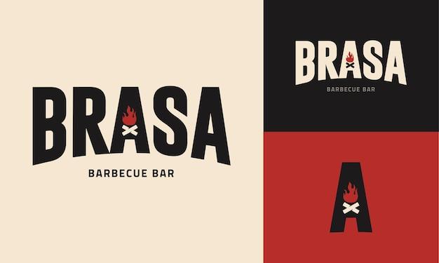 Szablon logo dla restauracji ze stekami z grilla na węgiel drzewny