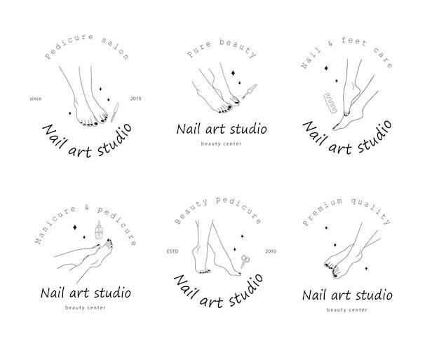 Szablon logo dla salonu pedicure. koncepcja pielęgnacji stóp.