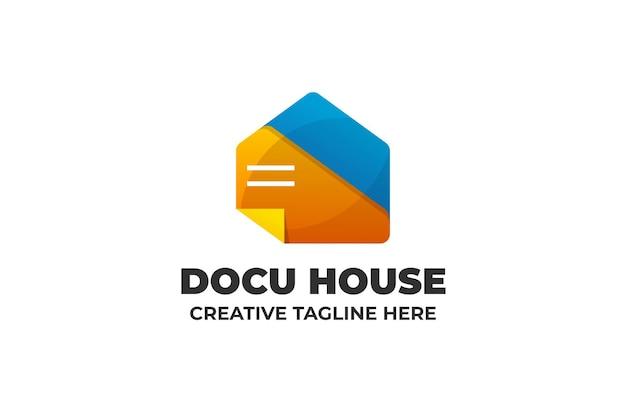 Szablon Logo Dom Zapisu Pliku Dokumentu Premium Wektorów