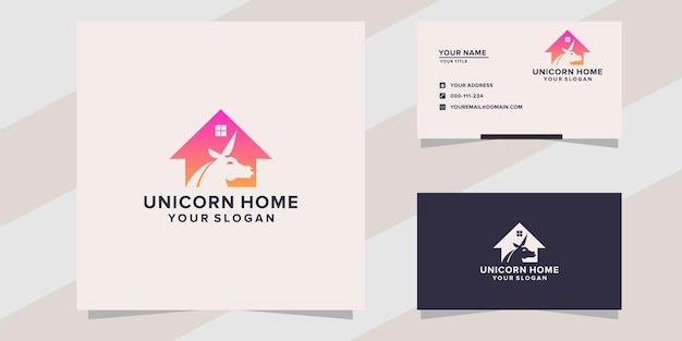 Szablon logo domu jednorożca