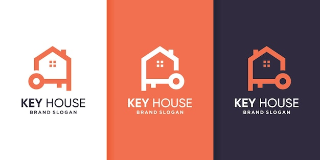 Szablon logo domu kluczy w stylu grafiki liniowej