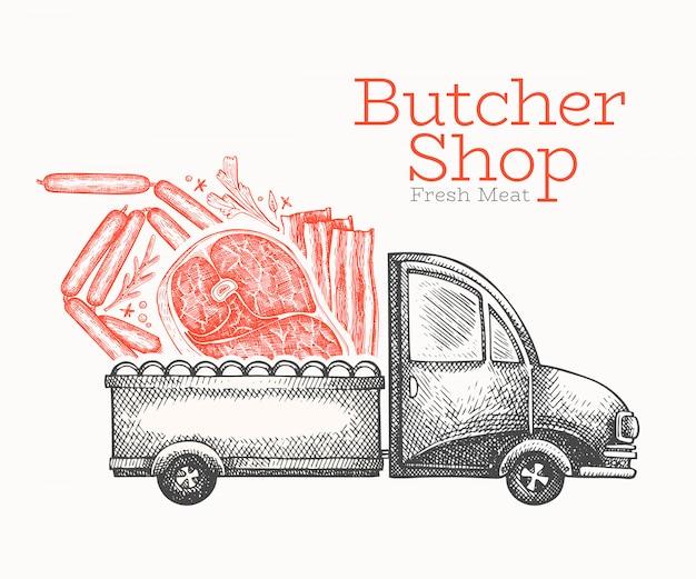 Szablon logo dostawy sklep mięsny. ręka rysująca wektor ciężarówka z mięsną ilustracją. grawerowany styl retro żywności.