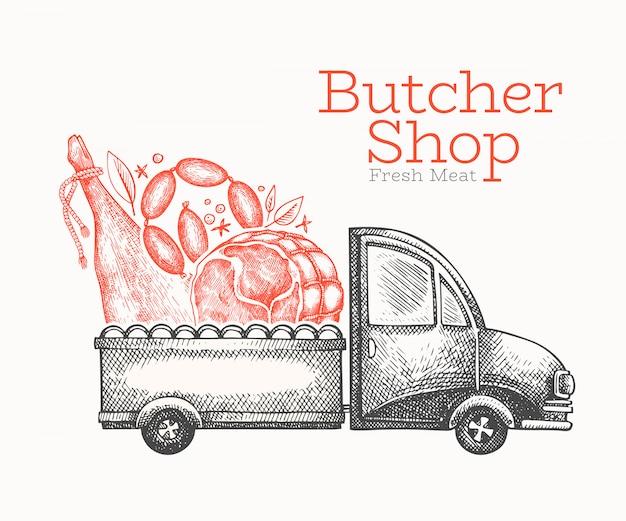 Szablon logo dostawy sklep mięsny.