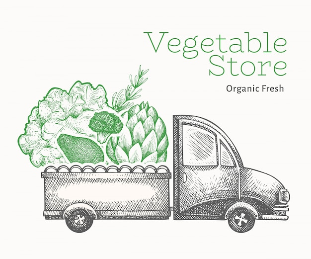 Szablon logo dostawy sklep zielony warzywa. grawerowany styl retro żywności.