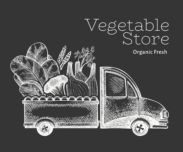 Szablon logo dostawy sklep zielony warzywa. ręka rysująca ciężarówka z warzywami ilustracyjnymi. grawerowany styl retro żywności.