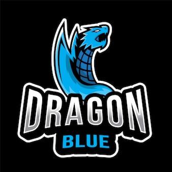 Szablon logo dragon blue esport