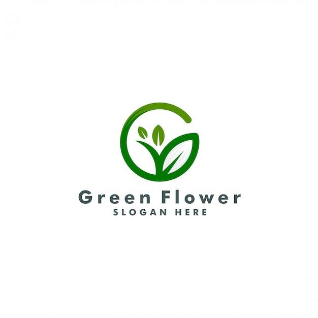 Szablon logo drzewa litera g. projekt logotypu przyrody