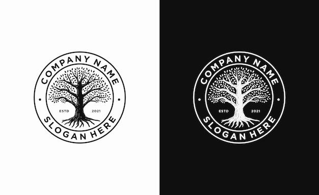 Szablon logo drzewa życia odznaka koła