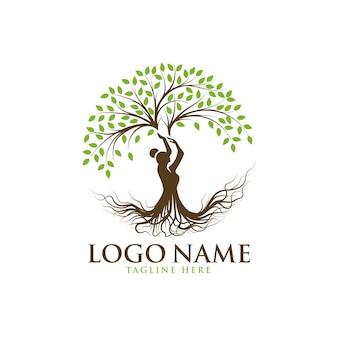 Szablon logo drzewo piękna pani