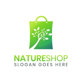 Szablon logo drzewo zielona torba na zakupy