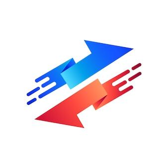 Szablon logo dwukierunkowej strzałki