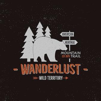Szablon logo dzikich zwierząt. cytat dzikie terytorium wędrowców z niedźwiedziem i drzewami. wektor