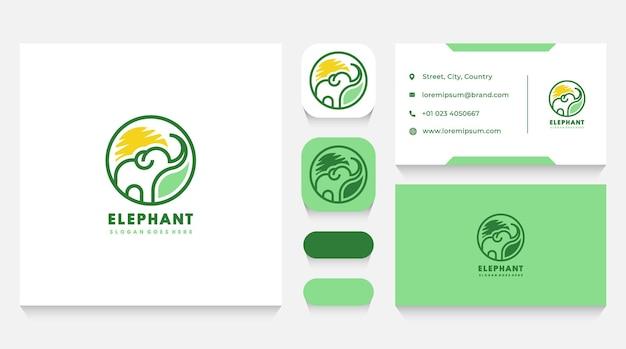 Szablon logo dzikiego słonia i wizytówka