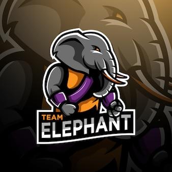 Szablon logo e-gier gaming wojownik słoń