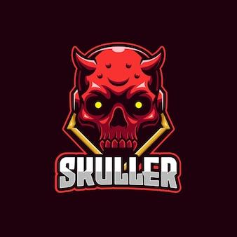 Szablon logo e-sport czerwona czaszka diabła