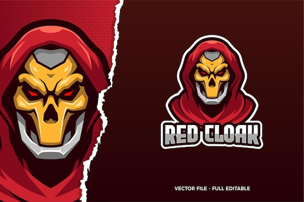 Szablon logo e-sport czerwony płaszcz