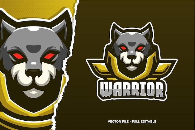 Szablon logo e-sport wojownika dzikiego psa