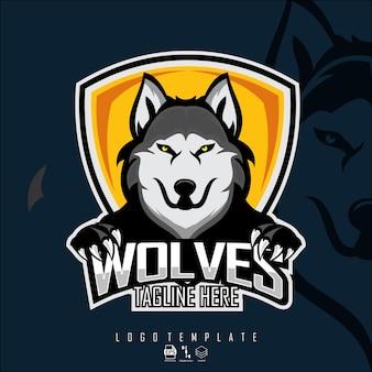 Szablon logo e-sportów wilki z ciemnym niebieskim tłem