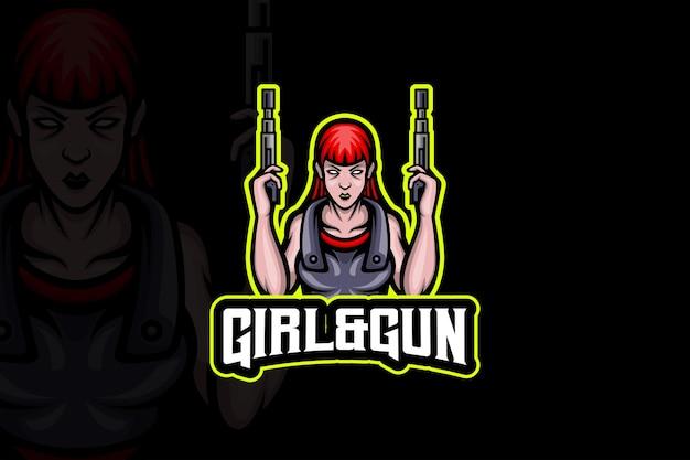Szablon logo e-sportu dziewczyna i broń