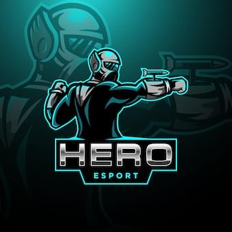 Szablon logo e-sportu futurystyczny bohater