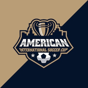 Szablon logo e-sportu i sportu amerykańskiej międzynarodowej piłki nożnej