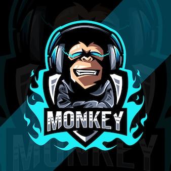 Szablon logo e-sportu maskotka cute monkey dla graczy