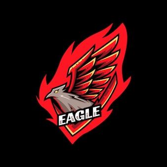 Szablon logo e-sportu nowoczesny orzeł