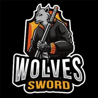 Szablon logo e-sportu wilki miecz