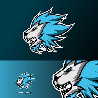 Szablon logo e-sportu wściekły lew jaguar maskotka gry sportowe dla klubu drużyny streamerów