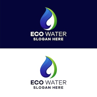 Szablon logo eco water gradient
