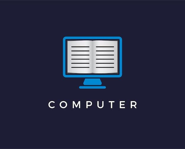 Szablon logo edukacji online. projekt nauczania na odległość. monitor komputerowy i ilustracja otwartej książki
