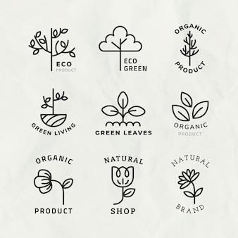 Szablon logo ekologicznego linii do brandingu z zestawem tekstowym