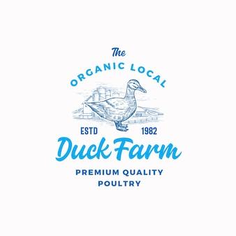 Szablon logo ekologicznej fermy drobiu. ręcznie rysowane sylwetka kaczki