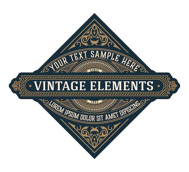 Szablon logo elegancki z liniami ornamentu. zarejestruj się w restauracji lub innej firmie
