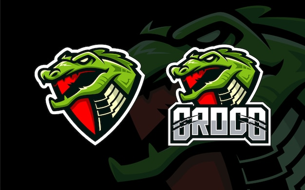 Szablon logo esport głowy krokodyla