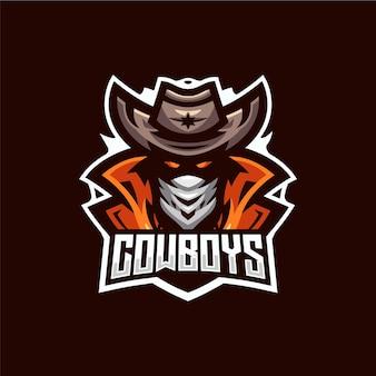 Szablon Logo Esport Kowboja Premium Wektorów