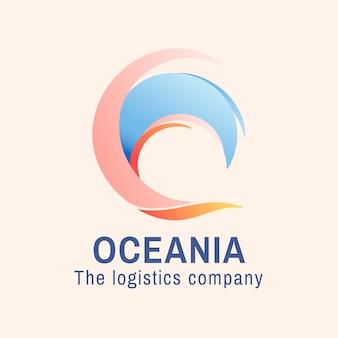 Szablon logo fal oceanicznych, biznes wodny, animowany wektor graficzny