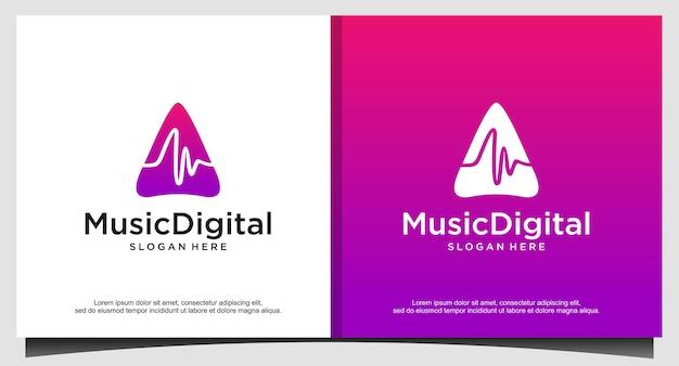 Szablon logo fali dźwiękowej dźwięku. logotyp technologii muzyki abstrakcyjnej linii. emblemat elementu cyfrowego, graficzny przebieg sygnału, krzywa, głośność i korektor. ilustracja wektor