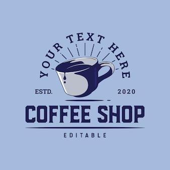 Szablon logo filiżanka kawy dla kawiarni lub plakatu