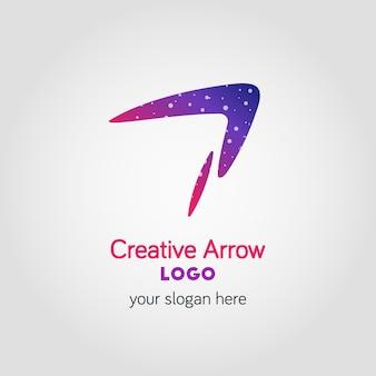 Szablon logo firmy kolorowe strzałki przy użyciu podwójnej ekspozycji