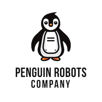 Szablon logo firmy penguin robots