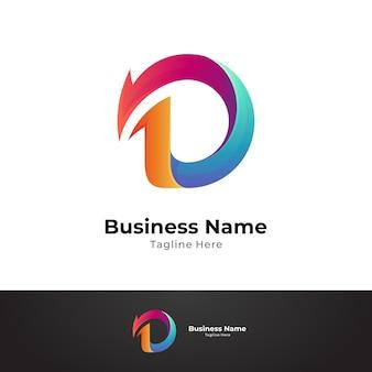 Szablon logo firmy strzałka litera d