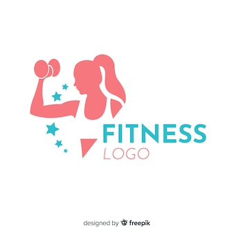Szablon logo fitness płaska konstrukcja
