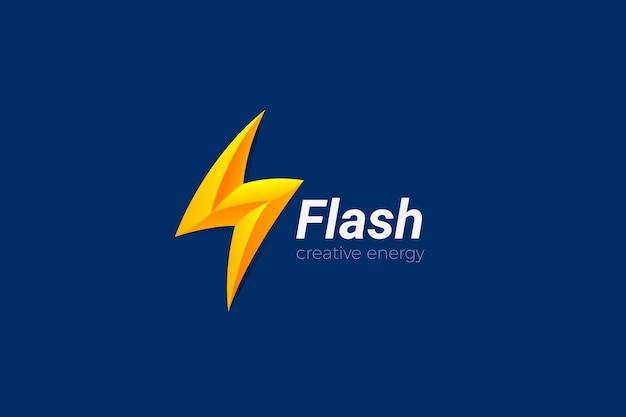 Szablon logo flash energy w stylu 3d. logotyp baterii electric power thunder bolt charge