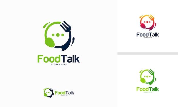 Szablon logo food talk projektuje ilustrację wektorową, logo dyskusji na temat żywności, logo food forum