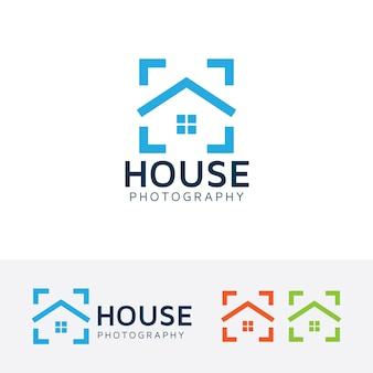 Szablon logo fotografia domu