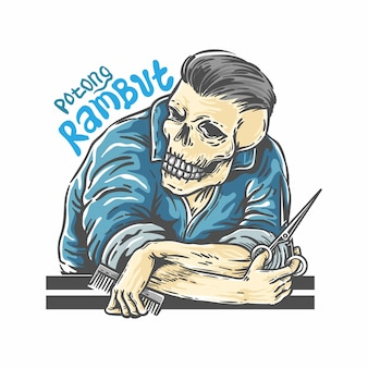 Szablon logo fryzjera czaszki cięcia włosów