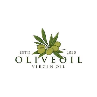 Szablon logo gałęzi drzewa oliwnego