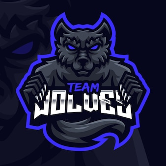 Szablon logo gaming maskotka czarnego wilka dla esports streamer facebook youtube