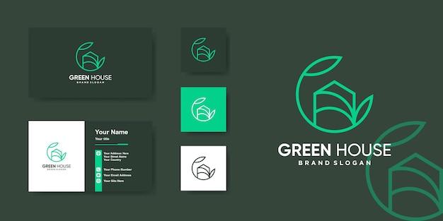 Szablon logo geen house nadaje się do plantacji lub firmy rolniczej premium wektor